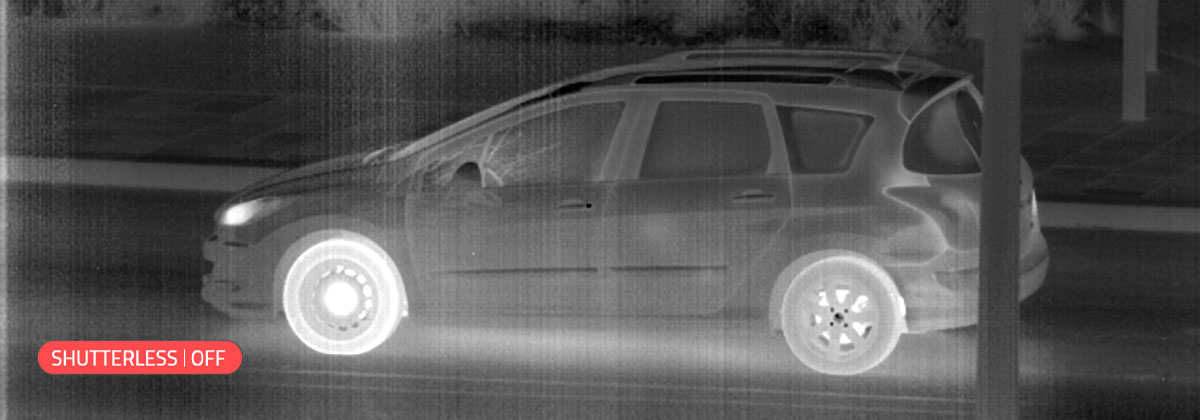 Noisy thermal image produced by a thermal camera shutter
